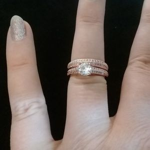 Rose gold and cubic zarconia engagement set size 7